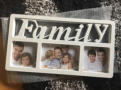 Brand New White Family 3 Photo Picture Frame