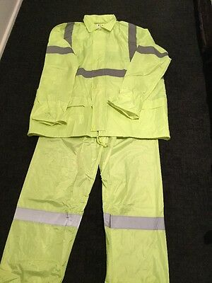 Hi Vis Waterproof Set Jacket & Pants With Reflective Tape Size 3Xl