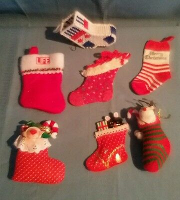 Lot of 7 Christmas Stocking Ornaments