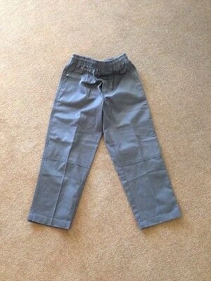 Boys Long Grey Gaberdine School Uniform Pants Trousers Size 8