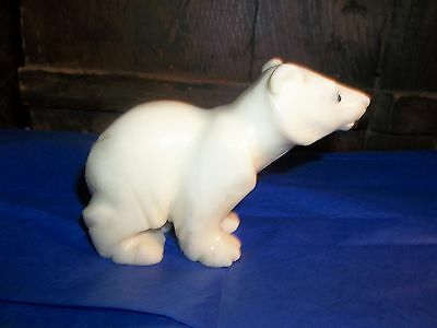 Italian Carved White Alabaster Polar Bear Figurine
