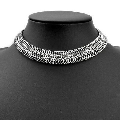 Stainless Steel Narrow Chain Mail Choker Necklace European 8-in-1 Handmade