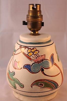 HONITON POTTERY LAMP BASE HAND PAINTED ON CREAM 1950c + DEVON ART POTTERY NICE