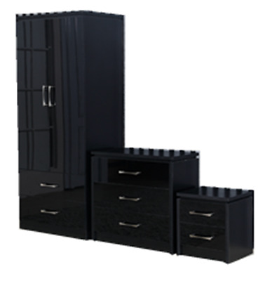 Mirrored Black High Gloss Bedroom Furniture Set - Wardrobe, Chest & Bedside