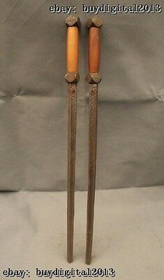 """28""""China Chinese Folk Old Bronze famous Shuang Bian Weapons Statue Pair"""