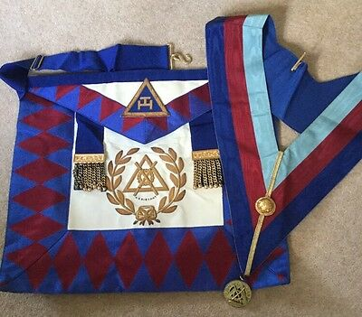 grand rank royal arch chapter lambskin apron and collar and jewel