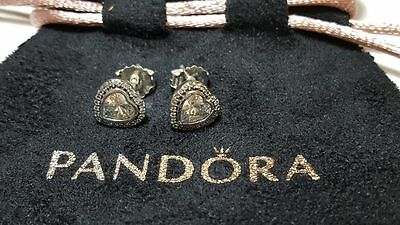 Pandora Sparkling Hearts Stud Sterling Silver Earrings. S925 ALE