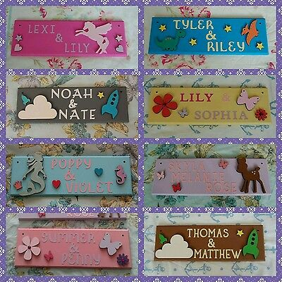 Personalised Children's Bedroom Door Name plaques. Choice of styles. Girls, Boys