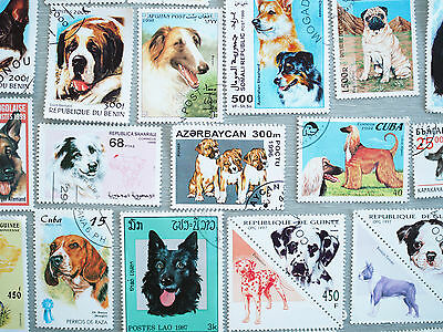 82 Beautiful Dog Postage Stamps. All Different.