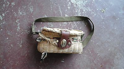 Wicker Fishing Creel Basket W/ Long  Canvas Strap Leather Clasp