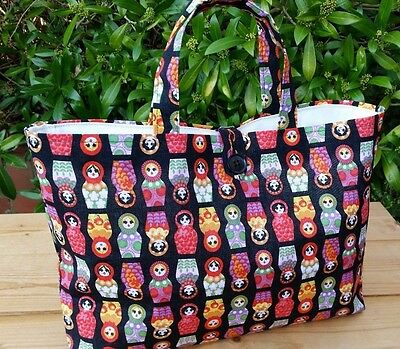 Knitting Bag or Crochet Bag in Printed Cotton with Russian Dolls Design