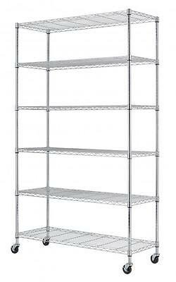 """82""""x48""""x18"""" Commercial 6 Tier Layer Adjustable Wire Metal Shelf Rack (white) New"""