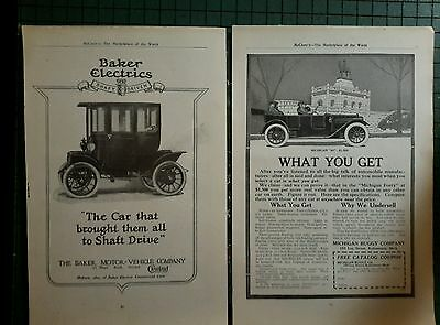 Baker Electric Car & Michigan Buggy co. ads pre 1919 auto advertising