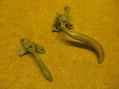 2 Antique Arts And Crafts Solid Brass Window Catches