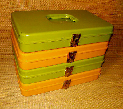 4 Sewing boxes set vintage for thread spools Avocado Green Harvest Gold plastic