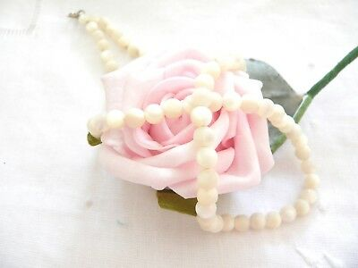 Antique Jewelry Pearl Shell Bead Hand Knotted Dress Necklace Vintage Jewellery