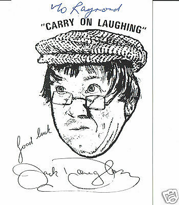 Jack Douglas Actor & Comedian Carry On - Hand signed A4 sheet and dedicated card
