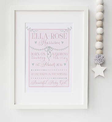Personalised New Baby Word Art Typography Birth Print Christening UNFRAMED