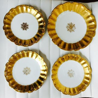 Set of 4 Antique 1890-1914 Haviland Limoges Coiffe Hand Paint Plates Gold Star
