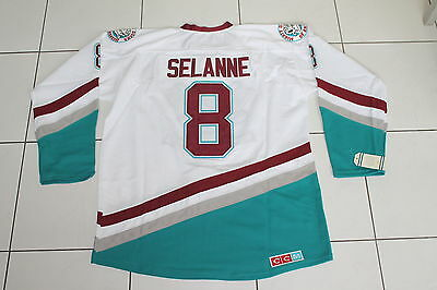 Nhl Mighty Ducks Selanne 8# Jersey Anaheim Ice Hockey Size Large 50 Ccm White