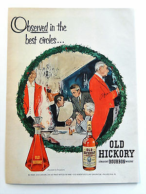 Vintage 1954 Old Hickory Bourbon Whisky Whiskey advertisement print ad art
