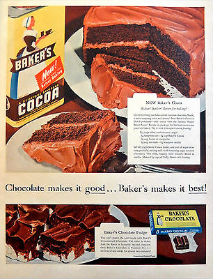 Vintage 1954 Bakers Baker's Cocoa chocolate recipe advertisement print ad art