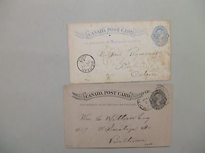 Two Queen Victoria CANADA postal stationery
