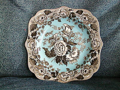 """Spode Archive Collection British Flowers Poppy 9"""" Blue & Black Plate England"""