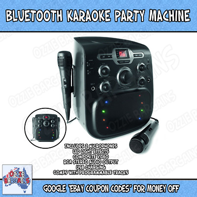Karaoke Party CDG Machine Bluetooth CD Player Disco Light LED Display Microphone