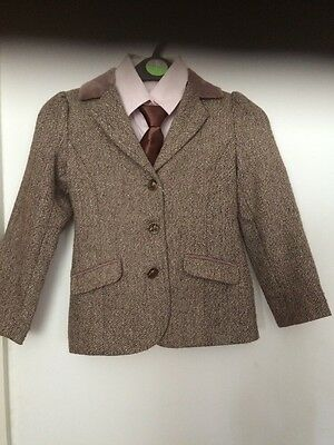 Brown tweed Jacket aged 7yrs plus elastic tie
