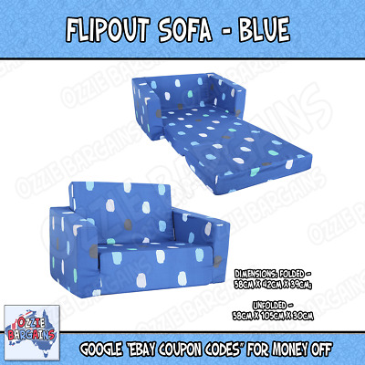 - New - Children Kids Geo Flipout Comfy Sofa Couch / Blue - White / Black