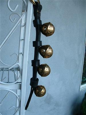 4 Bell Solid Brass Sleigh Bells Door Hanger Quality Leather USA