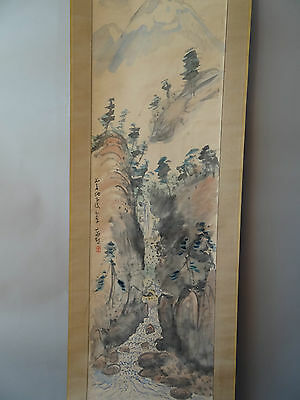 """Japanese hanging scroll Handpainted on Paper """"Sansui zu""""  s1208"""