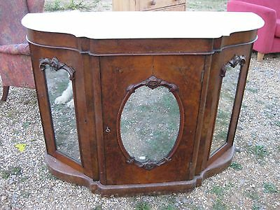 Attractive Victorian Burr Walnut Credenza with serpentine front and marble top.