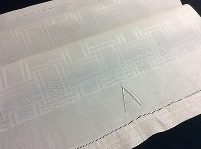 Lovely Antique Linen Damask Towel ~ Hand Embroidered Mono 'a'