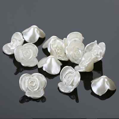 15 x 16 mm Ivory Rose Flower Simulated Pearl Buttons