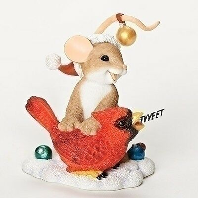 Charming Tails Mouse Merry Christmas Tweet Cardinal 2016 Figurine NEW 30398