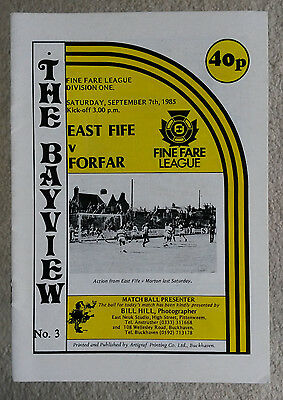 East Fife v Forfar Athletic Scottish Division One 1985 - 1986