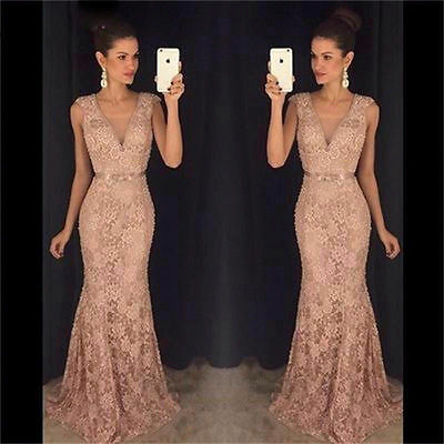 Long Lace Evening Cocktail Formal Party Ball Bridesmaid Wedding Prom Gown Dress