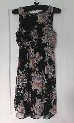 New Look Maternity Floaty Black Lilac Multi  Floral Print Dress Size 10