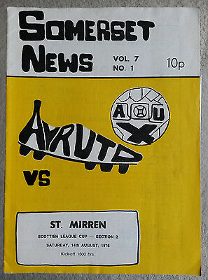 Ayr United v St. Mirren Scottish League Cup 1976 - 1977