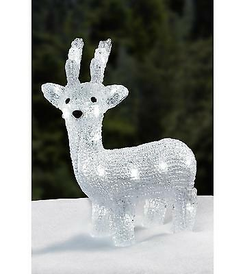 Small Outdoor Acrylic White LED Light Up Reindeer Christmas Garden Decoration