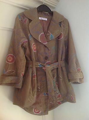 Toff Togs, Sz 104, Girls Cord Jacket/Coat, Pepper Brown/Multi-Embroidered VGC