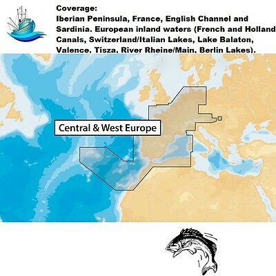 Navionics+ Central & West Europe -MicroSD™ Nautical Charts Plus Daily Updates