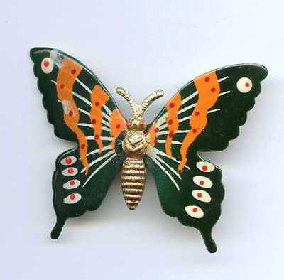 Vintage Butterfly Green Gold Tone Aluminum Pin Korea