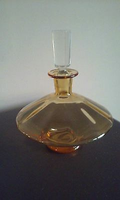Vintage Amber Glass Liquor Decanter With Crystal Stopper