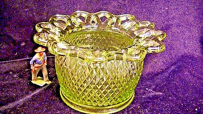 Vintage Imperial Glass Lace Edge Flower Rose Bowl Vase, Green
