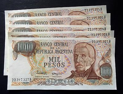 Banknotes Argentina 1000 Pesos 5 Consecutive Numbers Unc