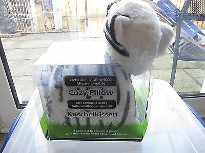 Lavender Fragrenced Microwavable  Heatable White Tiger Cozy Pillow- Brand  New