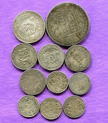 1868-1917 Great Britain Silver Coins - 11 Pieces - Circulated